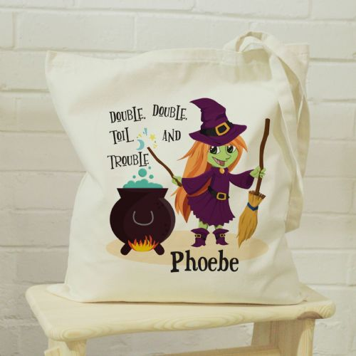 Personalised Toil & Trouble Halloween Trick or Treat Bag